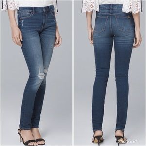 WHBM Mid-Rise Destructed Skinny Jeans Blue 14 Plus